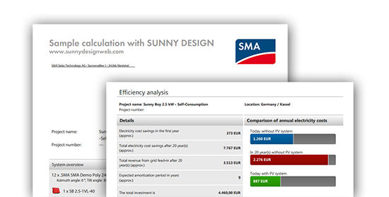 Sample calculation with SUNNY DESIGN